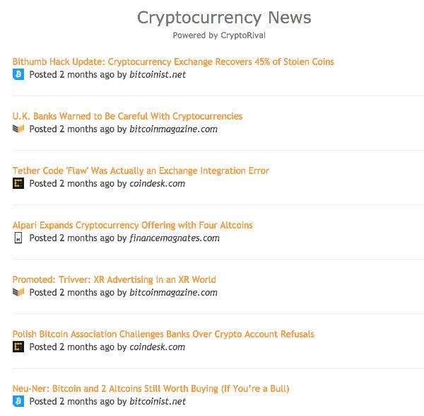 Cryptocurrency Widgets | CryptoRival