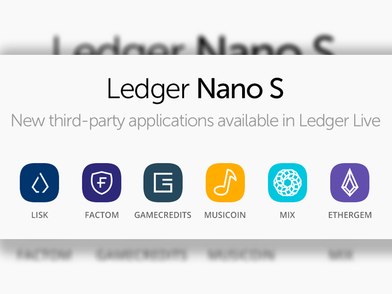 New Coins on the Ledger Nano S Wallet